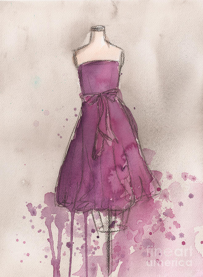 Purple Bow Dress Painting  - Purple Bow Dress Fine Art Print