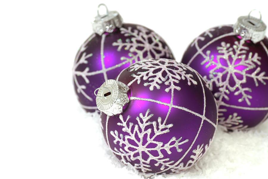 Purple christmas ornaments car interior design