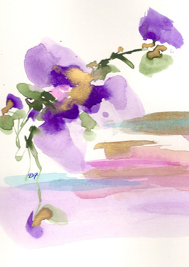 Purple Flower Drawing  - Purple Flower Fine Art Print