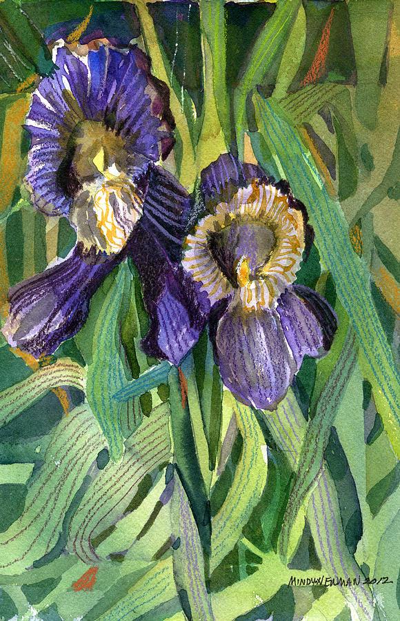 Iris Painting - Purple Irises by Mindy Newman