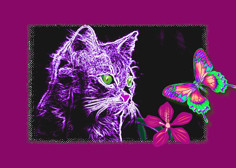 Purple Kitten Mixed Media  - Purple Kitten Fine Art Print