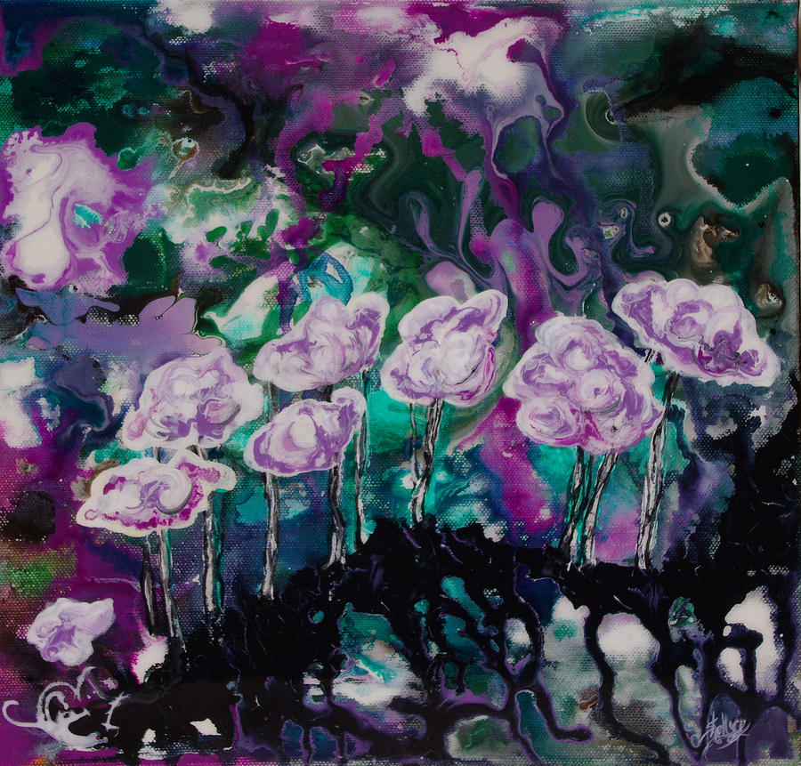 Purple Lava Floral Painting  - Purple Lava Floral Fine Art Print
