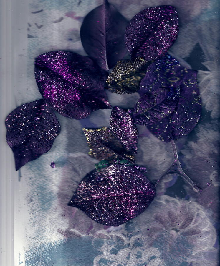 Purple Leaves All Glittery Painting  - Purple Leaves All Glittery Fine Art Print
