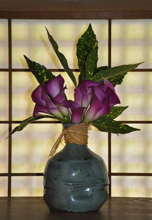 Purple Lilies In Japanese Vase Photograph