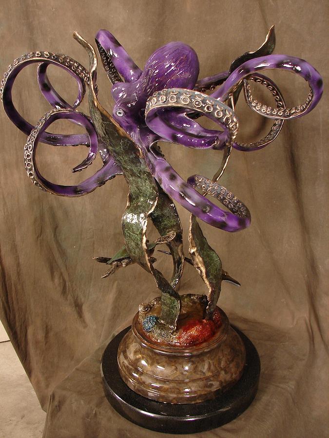 Purple Octopus Sculpture
