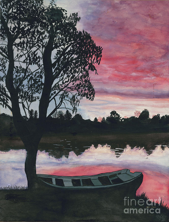 Purple Sunset With Boat Painting