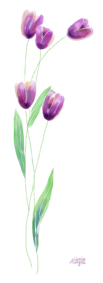 Purple Tulips Digital Art  - Purple Tulips Fine Art Print