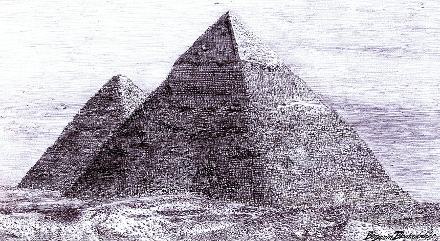 Pyramids In Egypt Giza Ancient Egypt Drawing  - Pyramids In Egypt Giza Ancient Egypt Fine Art Print