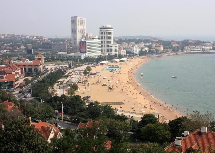 Qingdao Beach With Skyline Photograph