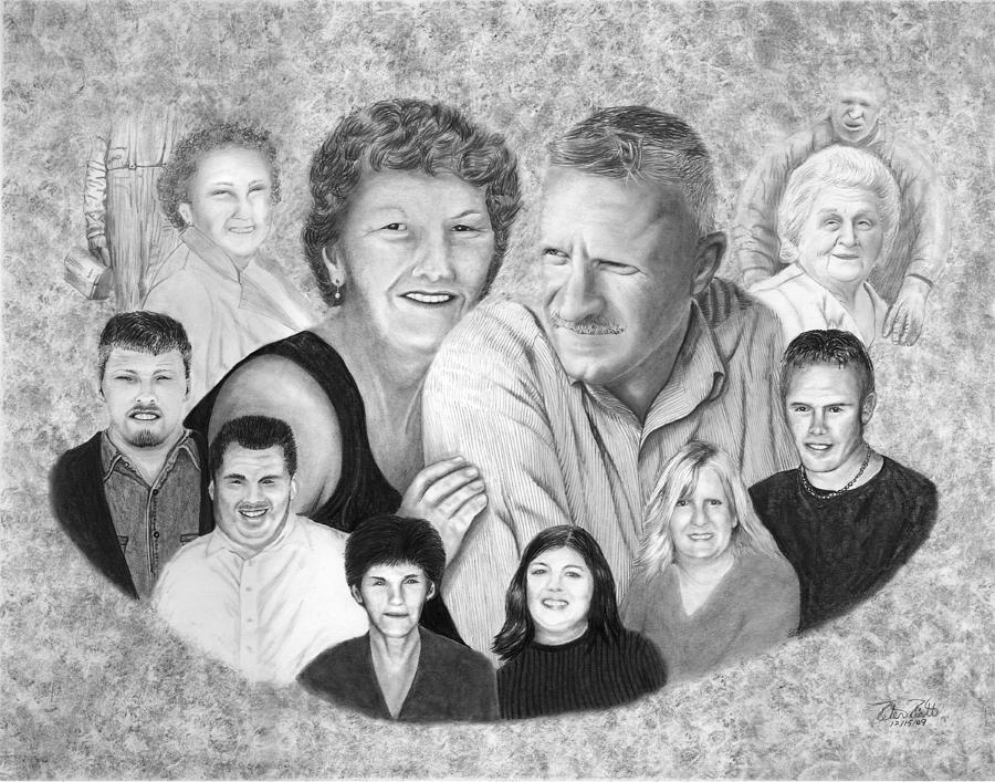 Quade Family Portrait  Drawing  - Quade Family Portrait  Fine Art Print