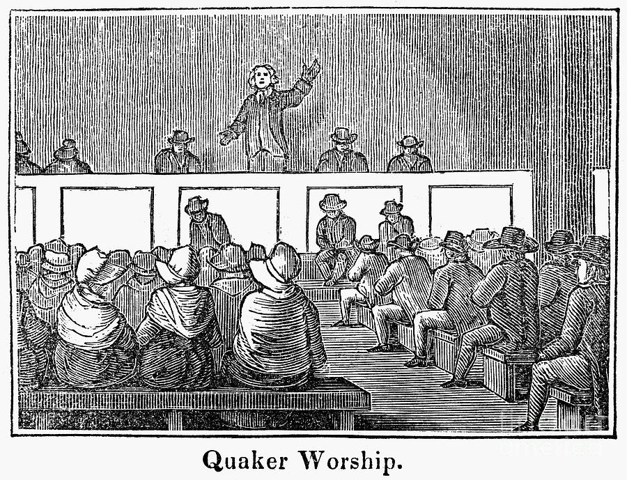 1842 Photograph - Quaker Worship, 1842 by Granger