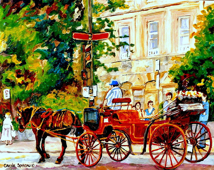 Quebec City Street Scene The Red Caleche Painting  - Quebec City Street Scene The Red Caleche Fine Art Print