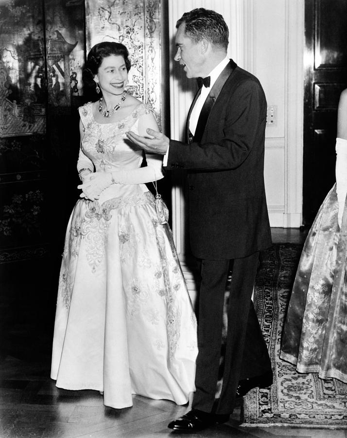 Queen Elizabeth II And Vice President Photograph