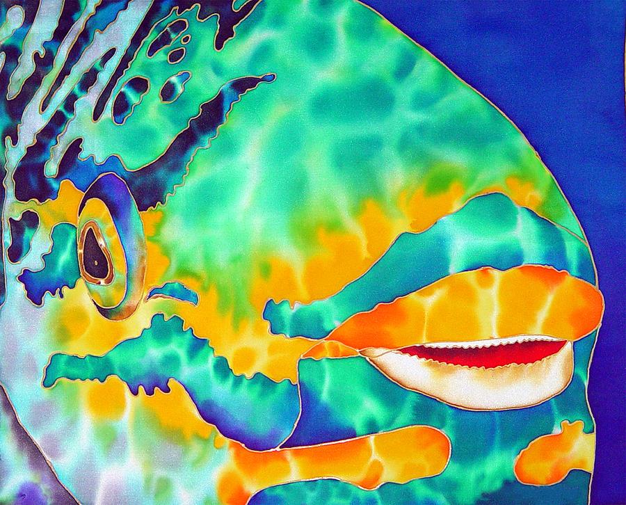 Silk Art Painting - Queen Parrotfish by Daniel Jean-Baptiste