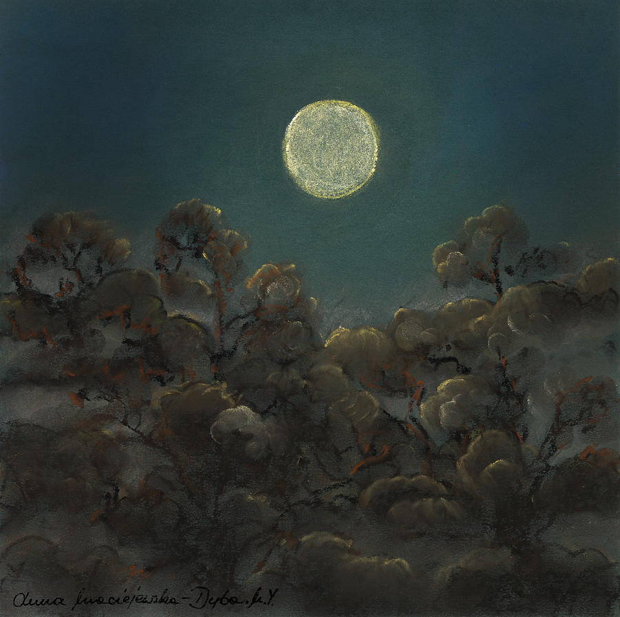 Night Landscape Painting - Quiet Night by Anna Folkartanna Maciejewska-Dyba
