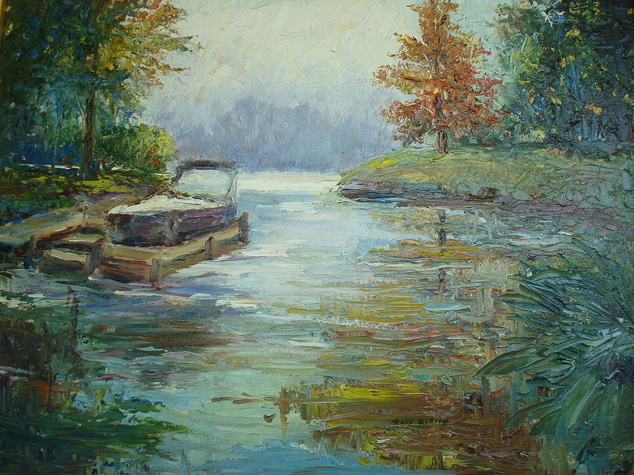 Pallet Knife Painting Painting - Quiet Place by Holly LaDue Ulrich