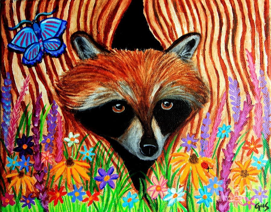 Raccoon Paintings - Raccoon  Raccoon Abstract Art