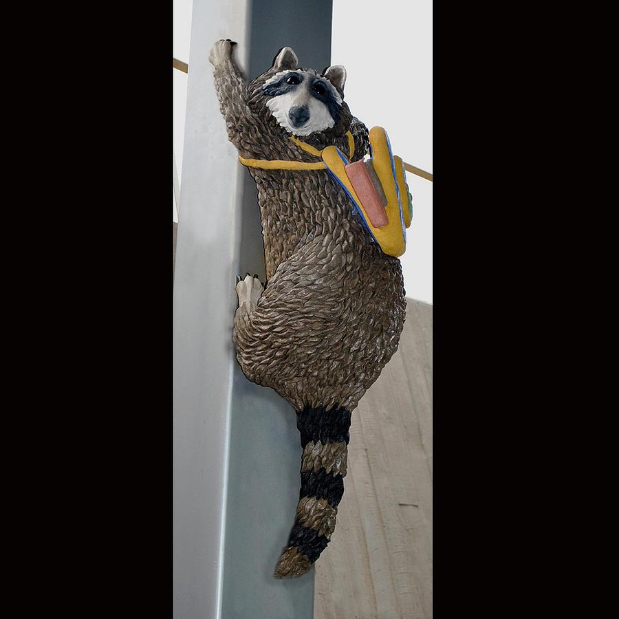 Raccoon Sculpture - Raccoon At The Northwest Library In Oklahoma City Ok by Faducci- Solomon Bassoff Domenica Mottarella