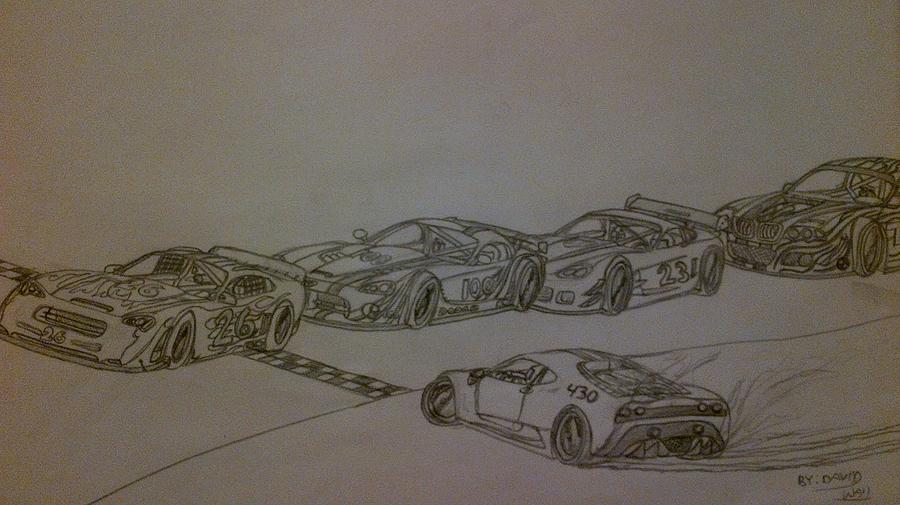 Race Cars Drawing  - Race Cars Fine Art Print