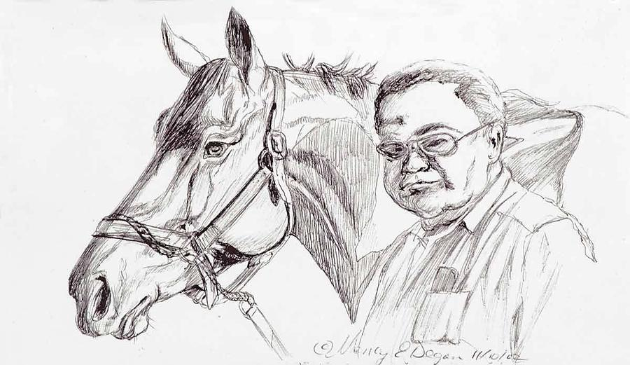 Race Horse And Owner Drawing