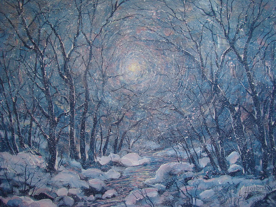Radiant Snow Scene Painting  - Radiant Snow Scene Fine Art Print