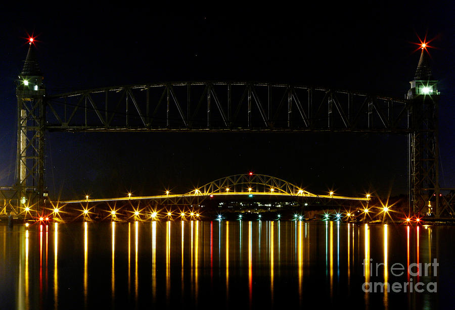 Railroad And Bourne Bridge At Night Cape Cod Photograph  - Railroad And Bourne Bridge At Night Cape Cod Fine Art Print