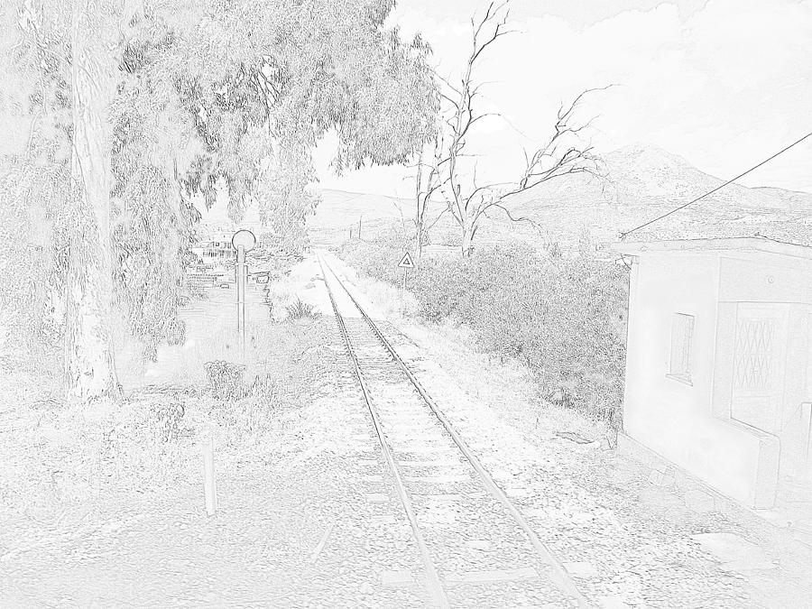 Railroad Crossing In Pencil Sketch Look On The Way From Mycenae To Olympia In Greece Photograph  - Railroad Crossing In Pencil Sketch Look On The Way From Mycenae To Olympia In Greece Fine Art Print