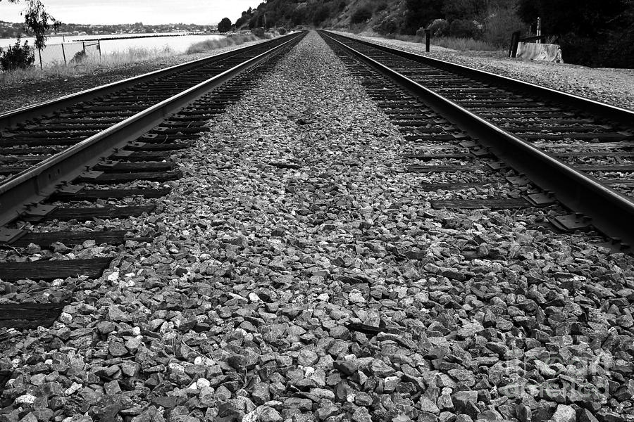 Railroad Tracks . Black And White Photograph  - Railroad Tracks . Black And White Fine Art Print