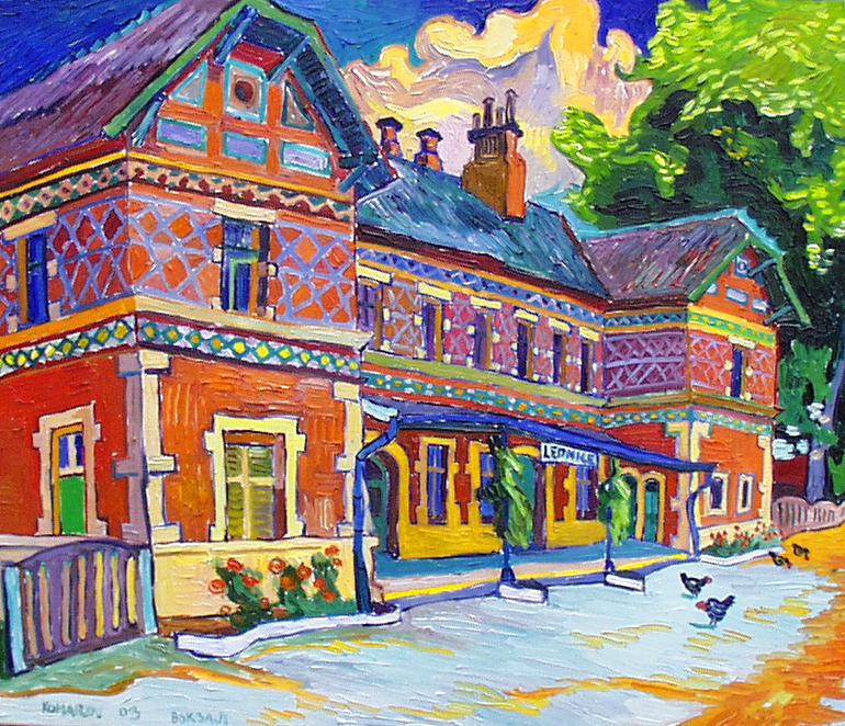 Railway Station In Lednice Painting  - Railway Station In Lednice Fine Art Print