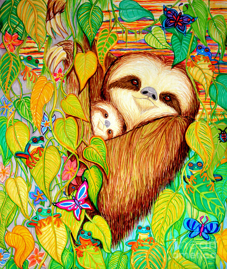 Rain Forest Survival Mother And Baby Three Toed Sloth Drawing  - Rain Forest Survival Mother And Baby Three Toed Sloth Fine Art Print