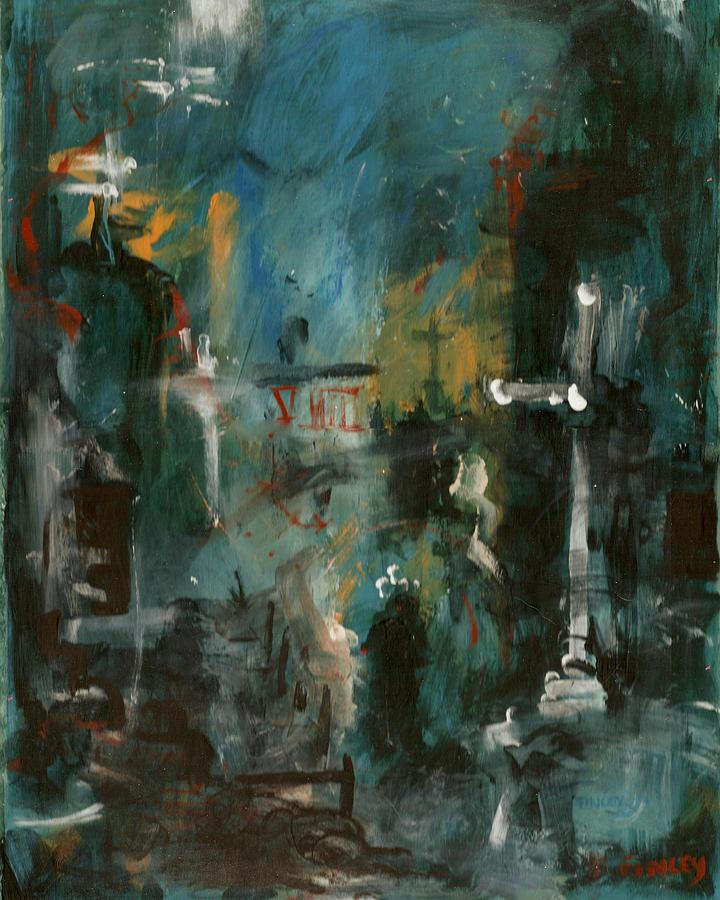 Rain In The Night City Painting