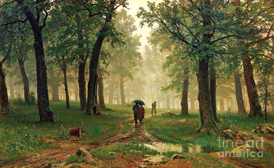 Rain In The Oak Forest Painting