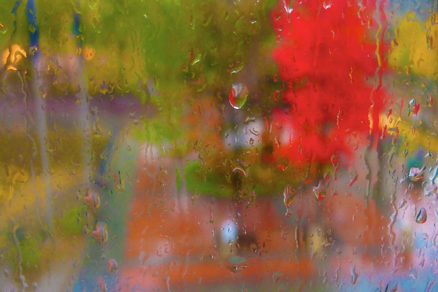 Rain On Glass Digital Art  - Rain On Glass Fine Art Print