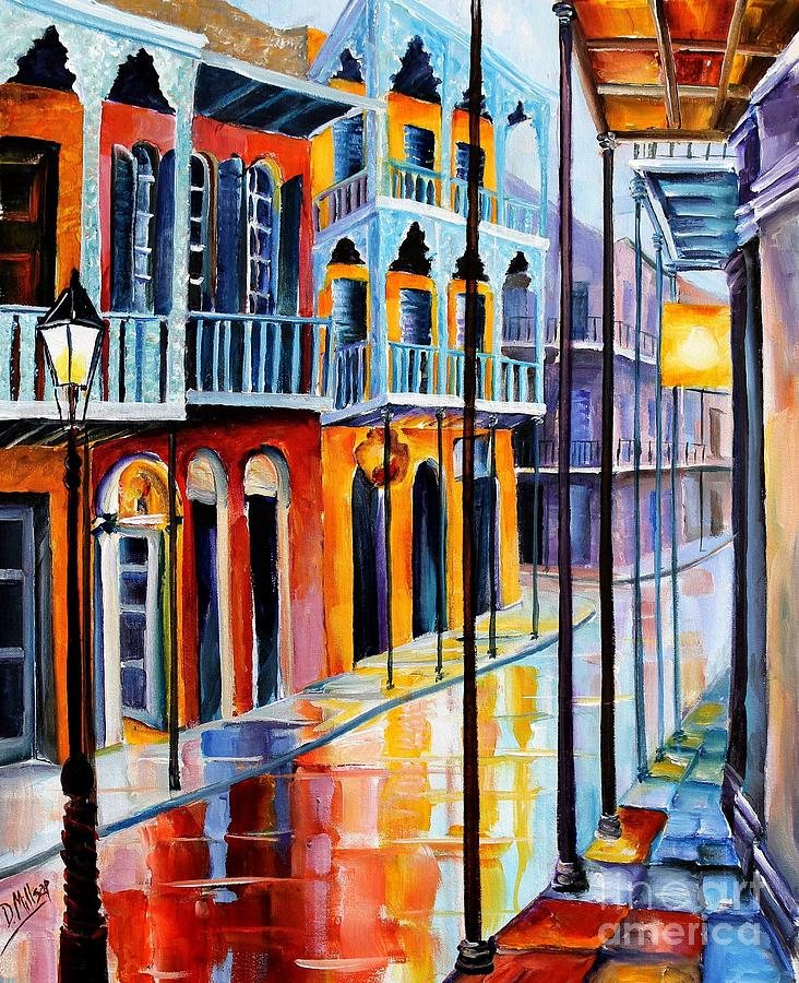 Rain On Royal Street Painting  - Rain On Royal Street Fine Art Print