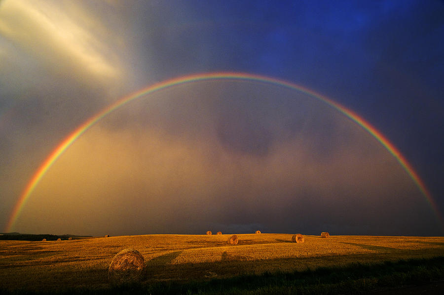 Agriculture Photograph - Rainbow And Hay Bales After A Storm by Mike ...