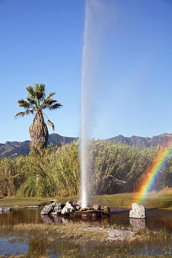 Rainbow At Old Faithful Photograph