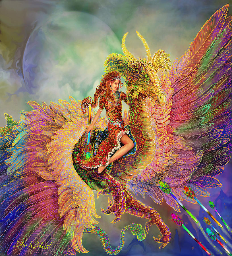 Rainbow Dragon Painting  - Rainbow Dragon Fine Art Print