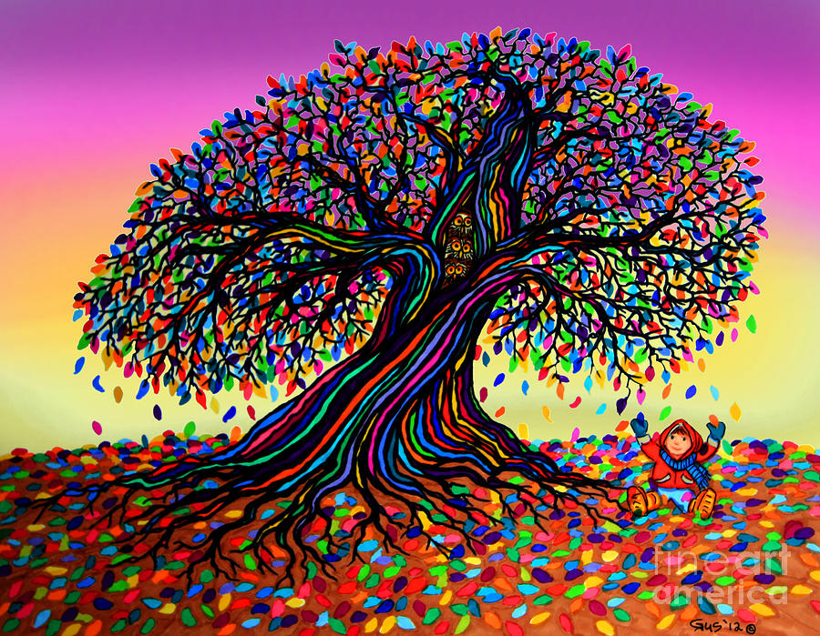 Rainbow Dreams And Falling Leaves Drawing  - Rainbow Dreams And Falling Leaves Fine Art Print