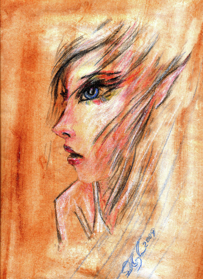 Rainbow Elf Girl Painting  - Rainbow Elf Girl Fine Art Print