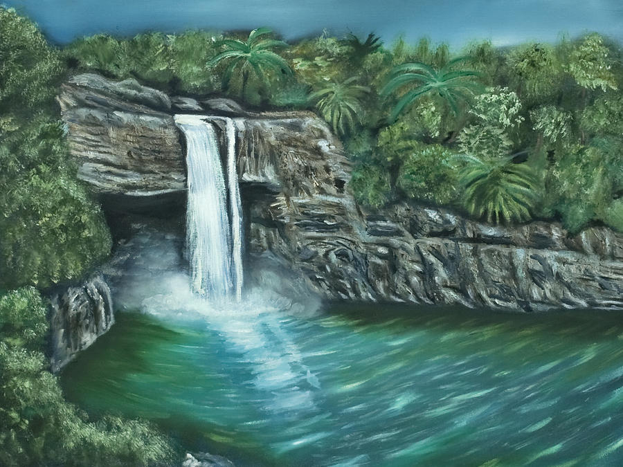Rainbow Falls Of Hawaii Painting  - Rainbow Falls Of Hawaii Fine Art Print