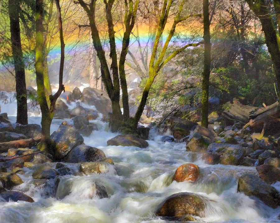 Rainbow  From Mist At Bridalveil Falls Photograph