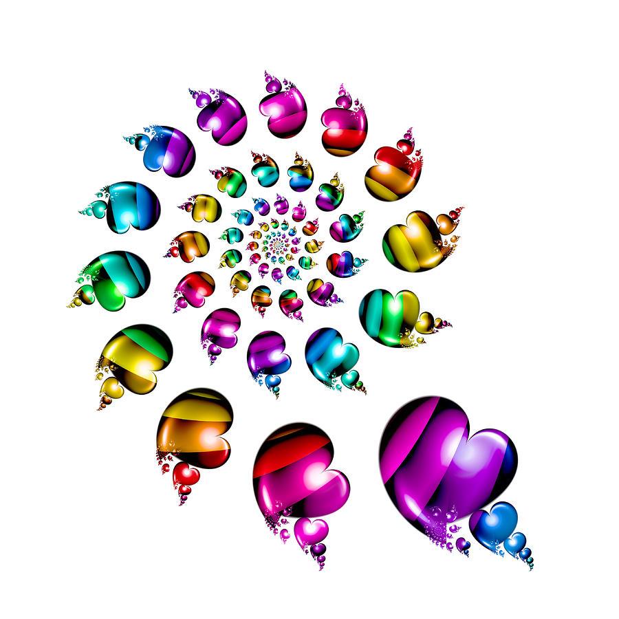 Rainbow Heart Wheel On White Digital Art