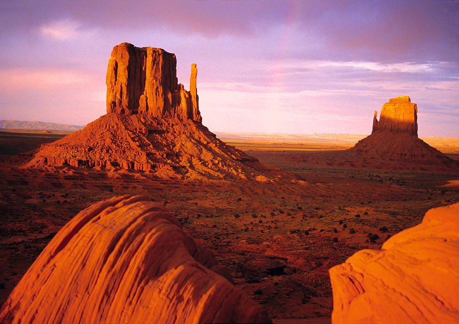 Rainbow In Monument Valley by Utah ImagesAcrylic Paintings Sunset