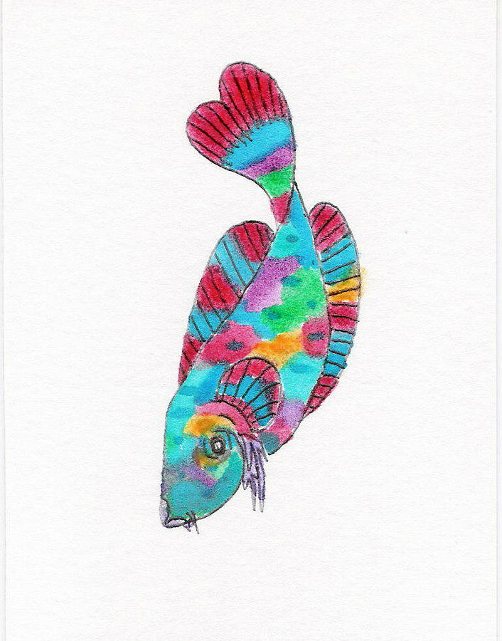 Rainbow koi fish painting rainbow koi fish fine art print for Rainbow koi fish