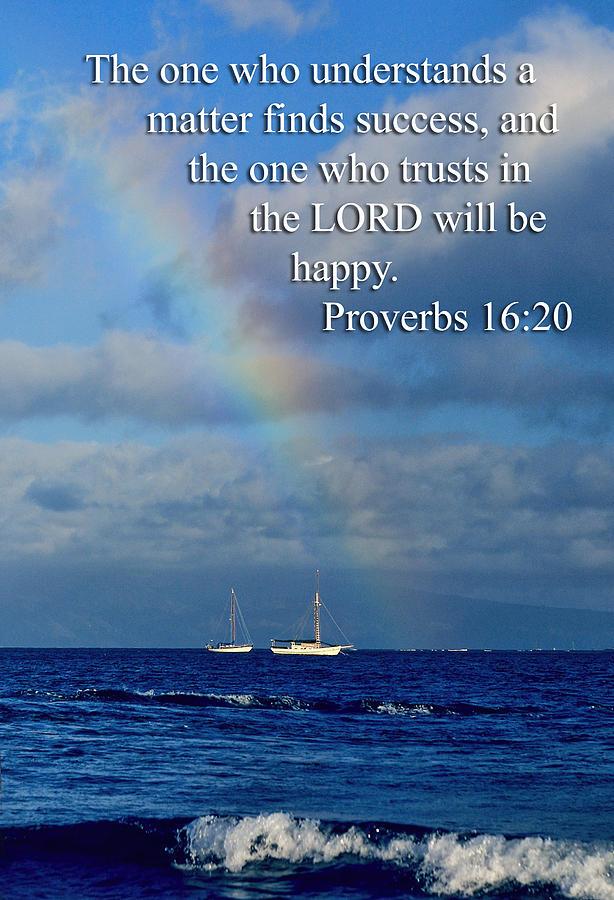 Scripture Photograph - Rainbow Over Deep Blue Sea Pro. 16v20 by Linda Phelps