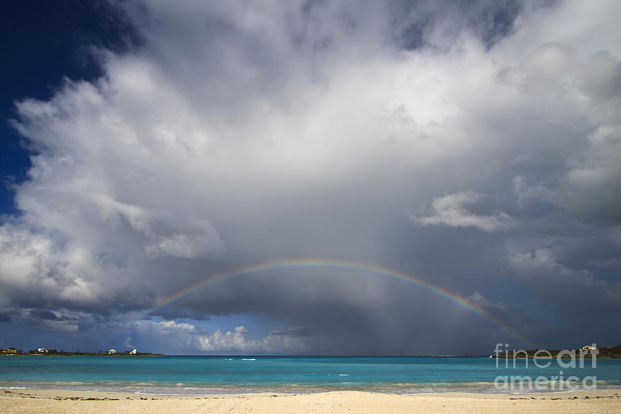 Exuma Photograph - Rainbow Over Emerald Bay by Dennis Hedberg