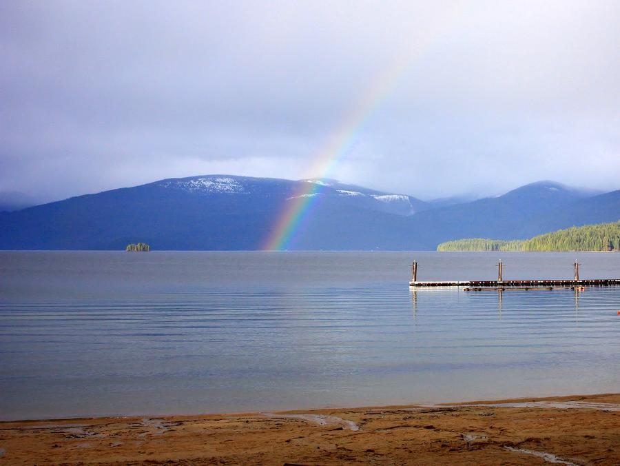Rainbow Over Priest Lake Photograph