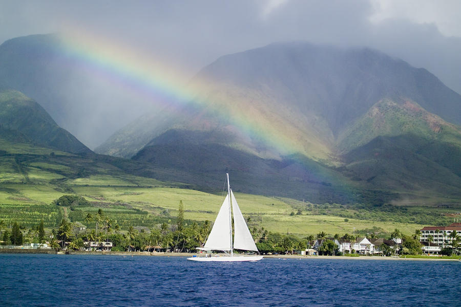 Rainbow Sailboat Maui Photograph  - Rainbow Sailboat Maui Fine Art Print