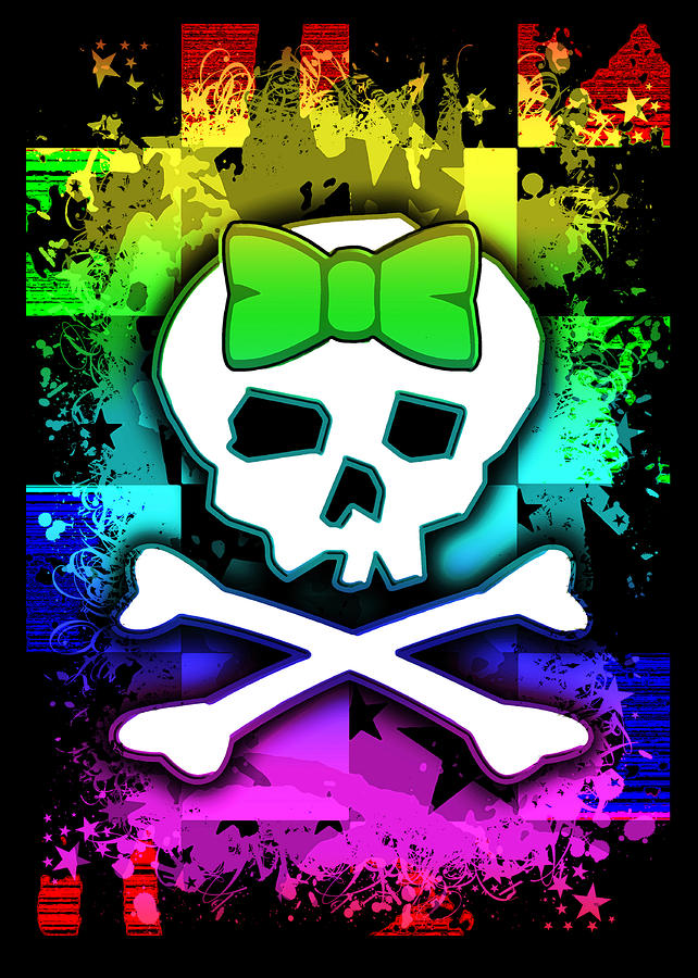 Rainbow Skull Digital Art  - Rainbow Skull Fine Art Print