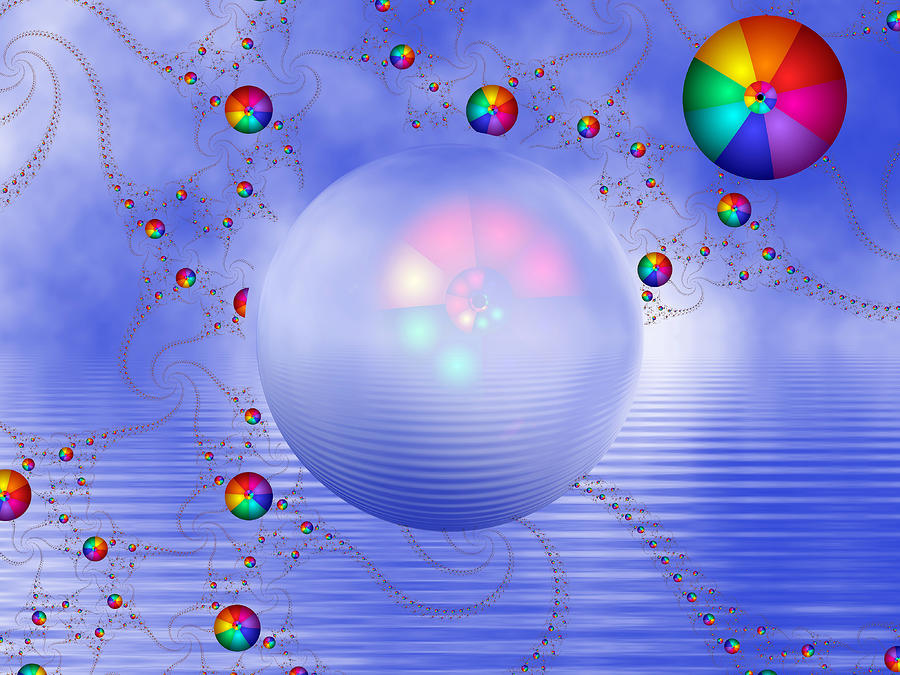 Rainbow Sphere On Blue Lake Digital Art